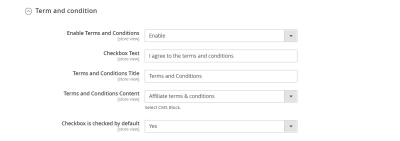 Term and condition (Account Configuration)