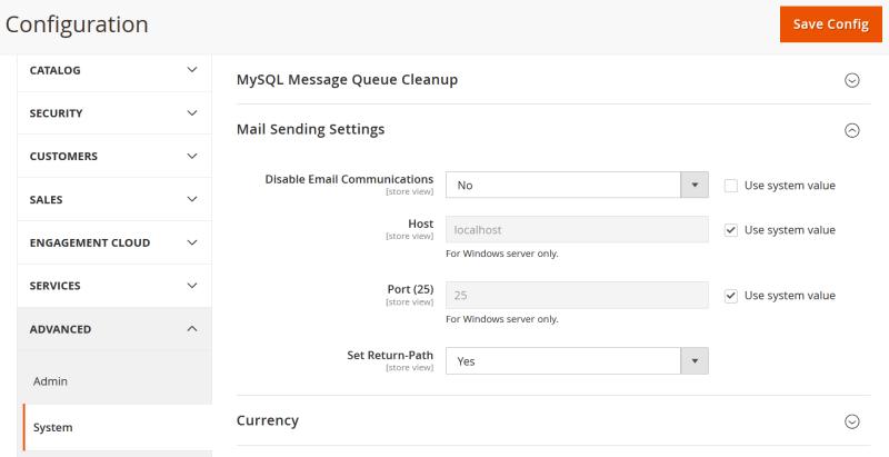 Mail sending settings