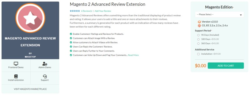 Magetop Advanced Review Extension