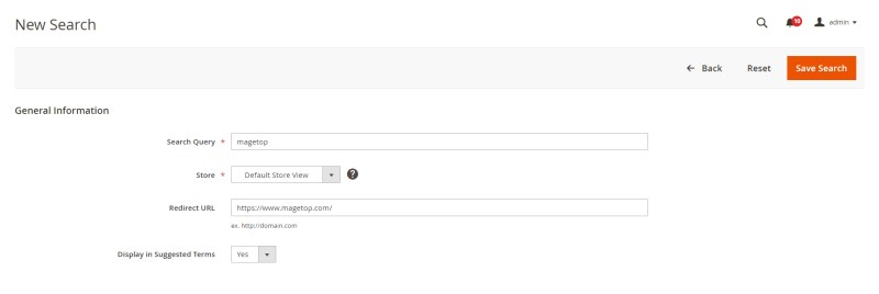 Search Terms Form