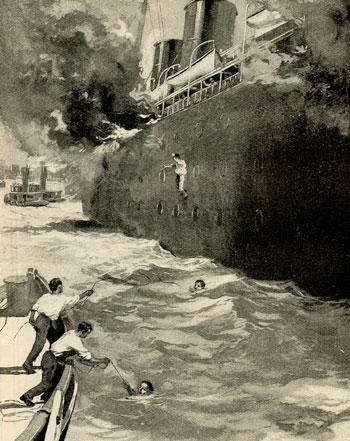Saltando al agua, desde el SS Bremen.