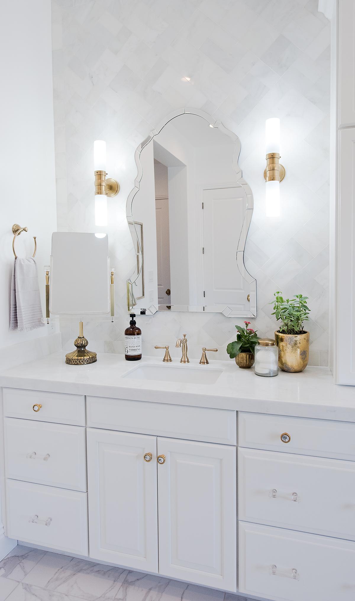 Bathroom Lights Gold Finish master bathroom reveal & rejuvenation giveaway! –