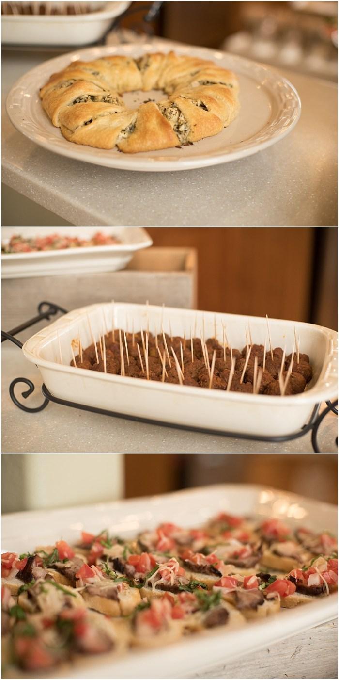 Chicken Pesto Crescent Ring, Chipotle Meatballs, Steak Bruschetta