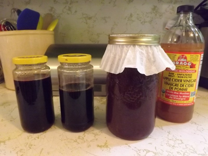 1 !/2 jars of Blackberry Syrup, and one jar of future Blackberry Vinegar.