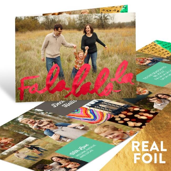 Fa La La Foil Holiday Photo Cards