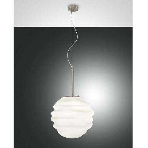 Fabas Luce Sospensione Moderna AVA  Ø 50 Cm In Vetro Soffiato Bianco
