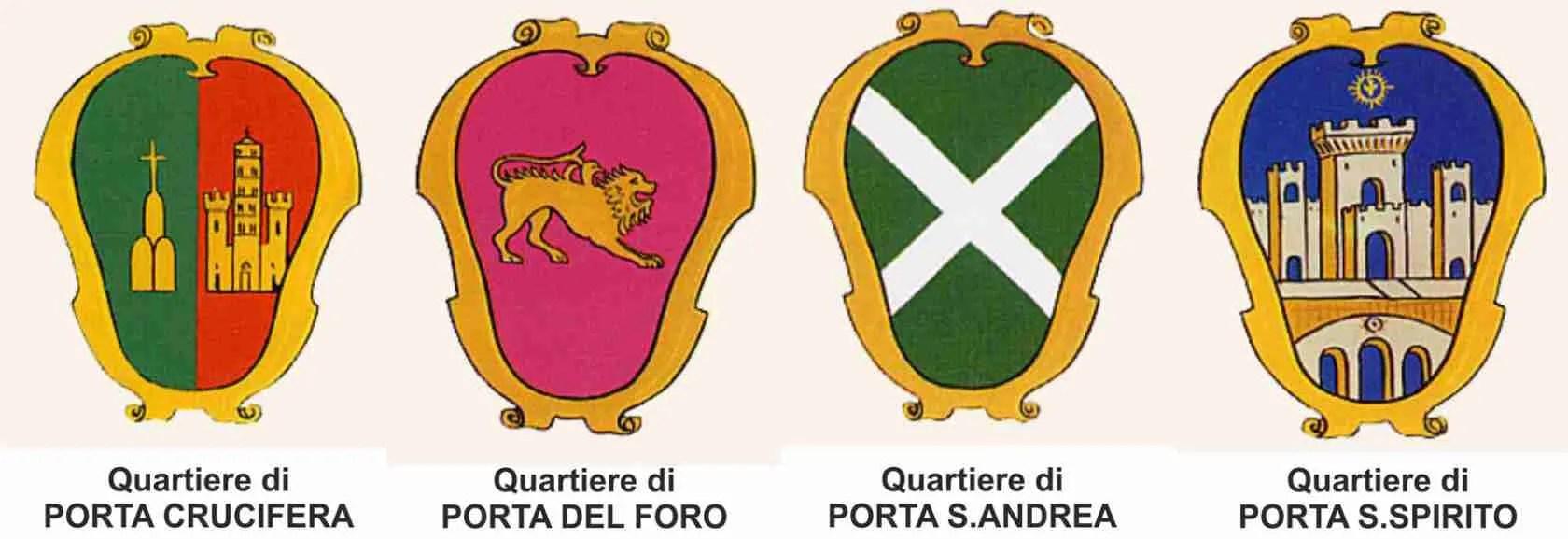 I quattro quartieri che partecipano alla Giostra del Saracino di Arezzo, evento imperdibile per le escort Arezzo.