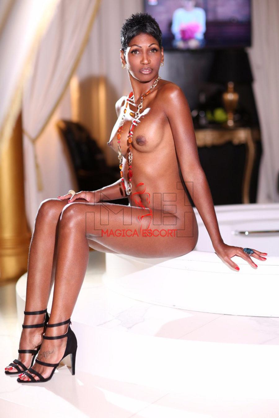Escort cubana Sharon è bellissima. Nuda e seduta nel suo letto. Magica Escort.