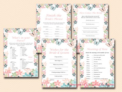 butterfly bridal shower game pack printable bridal shower games instant download