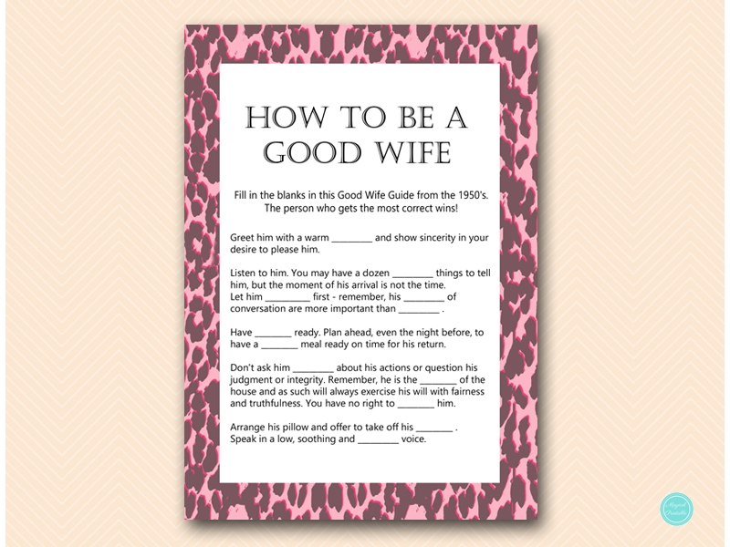 1950's How to Be a Good WIfe Bridal Shower Game BLUSH -Fun ...