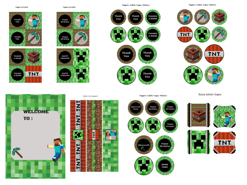 It is a picture of Witty Minecraft Birthday Printables