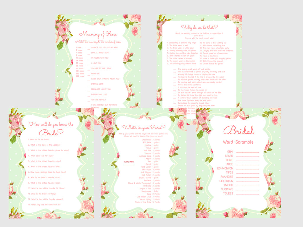 Mint Shabby Printable Bridal Shower Games