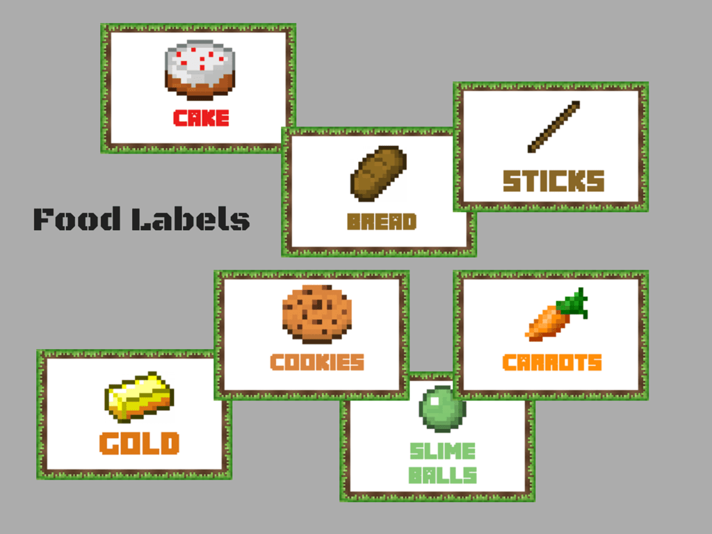 This is a graphic of Critical Free Printable Minecraft Food Labels