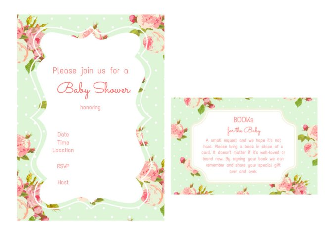 Baby Shower Bring A Book Instead Of Card Invitation Inserts