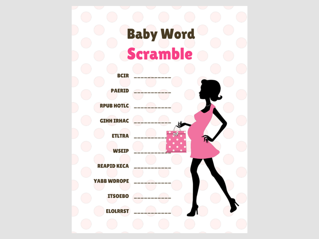 Chic Baby Word Scramble Pink