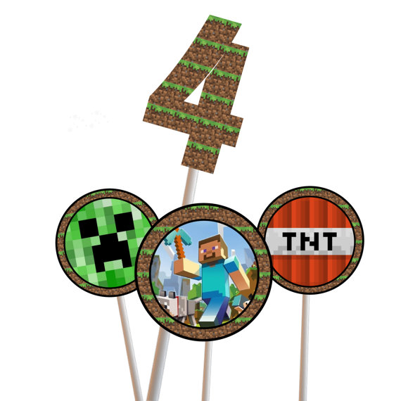 image about Printable Minecraft Cupcake Toppers identified as Minecraft Birthday - Magical Printable