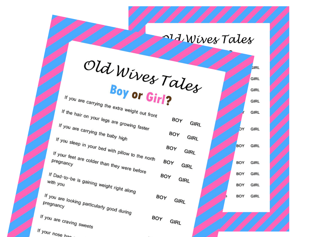 The Old Wives Tale Gender Reveal Baby Shower Game