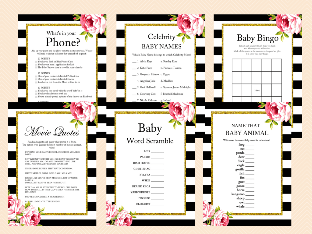 Floral Black And White Baby Shower Games Magical Printable