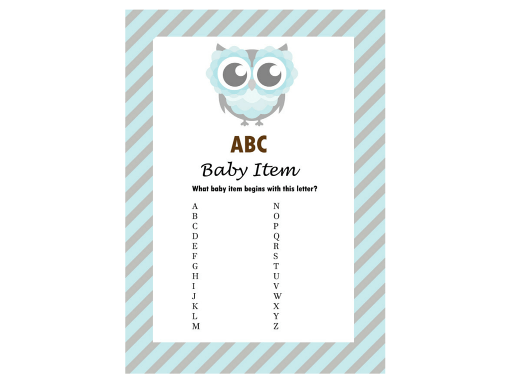 Boy Owl Themed Baby Shower Games - Magical Printable