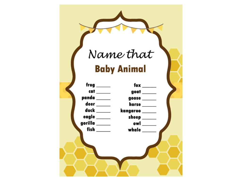Bee Themed Baby Shower Game