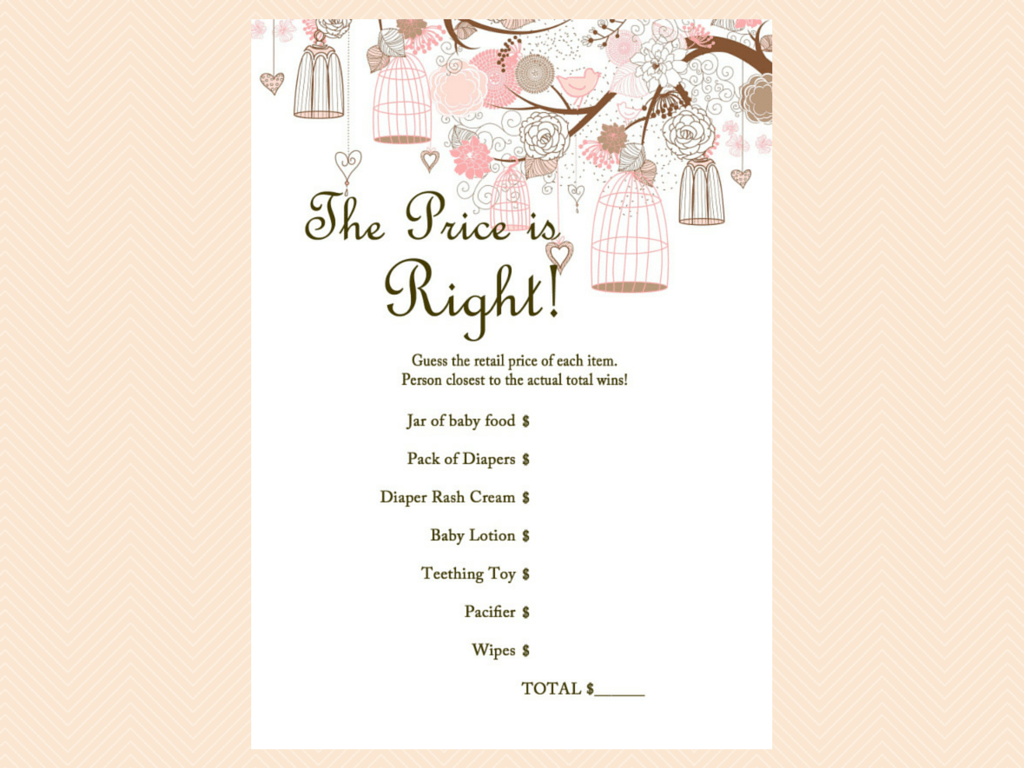 Bird Cage Baby Shower Games Printable