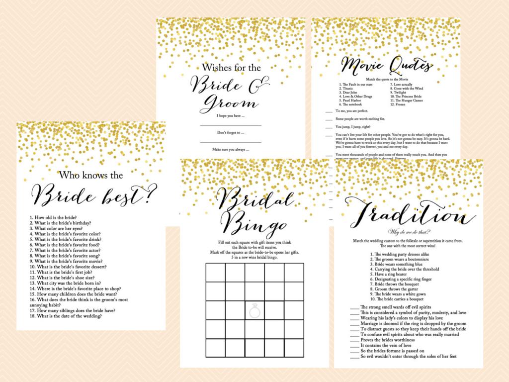 Gold Confetti Bridal Shower Game Mega Pack