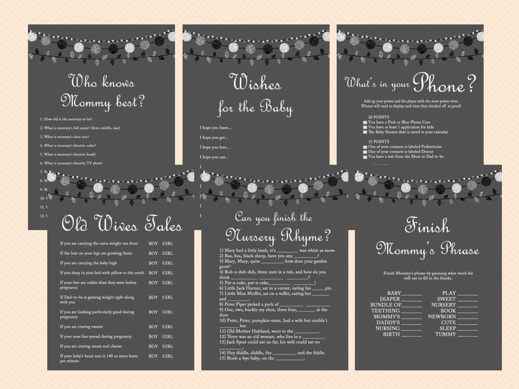 Modern Baby Shower Game Pack Magical Printable