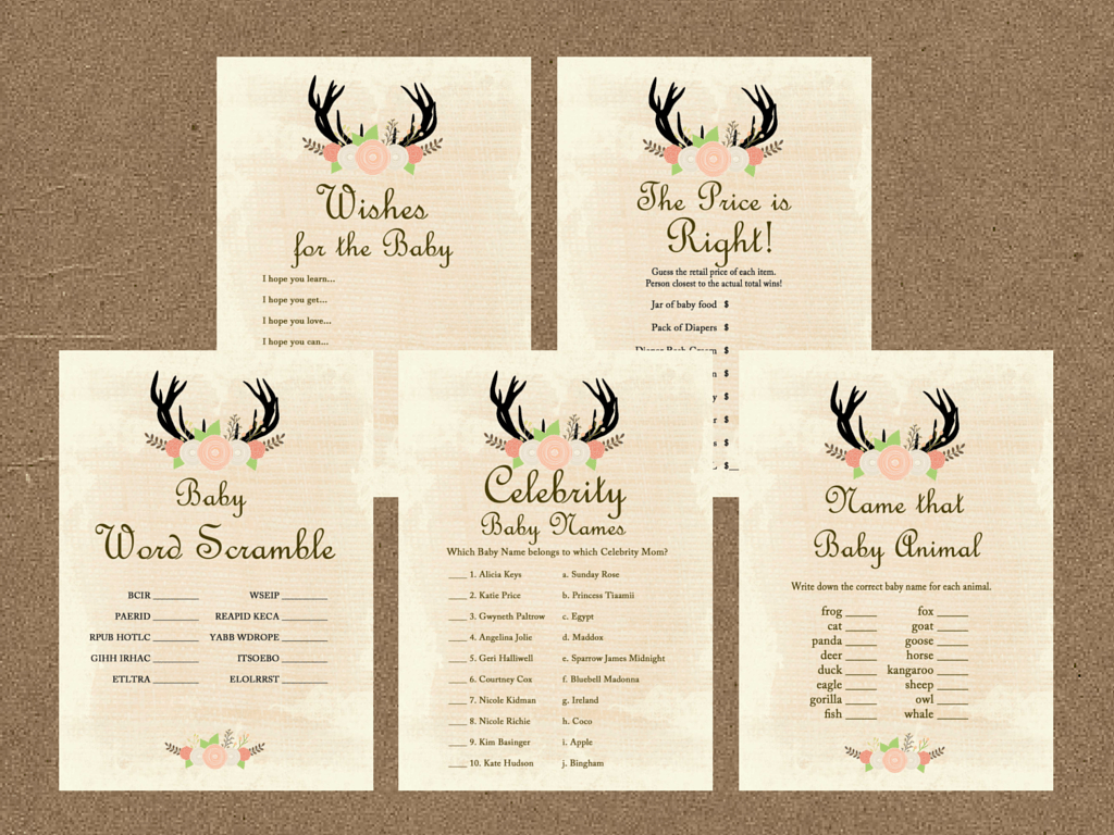 Oh Deer Antlers Baby Shower Game Pack
