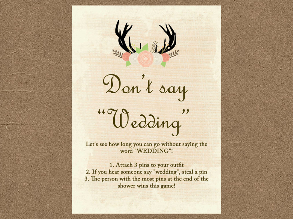 Rustic Country Bridal Shower Game Pack - Magical Printable
