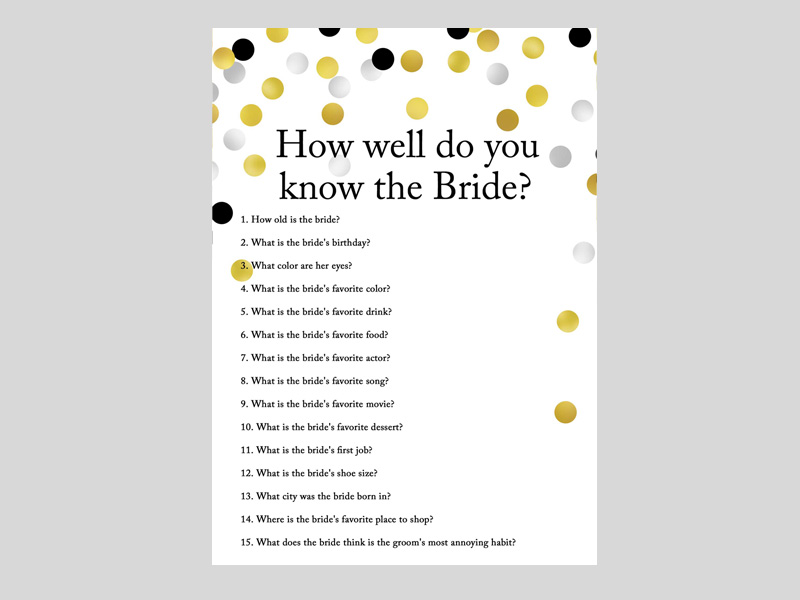 How Well Do You Know The Bride: Modern Confetti Bridal Shower Games