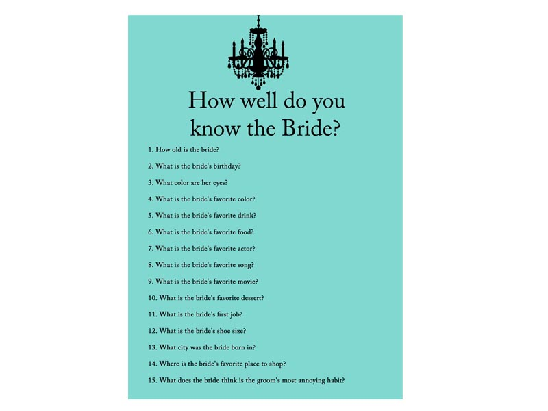 How Well Do You Know The Bride: Breakfast At Tiffany's Bridal Shower Games