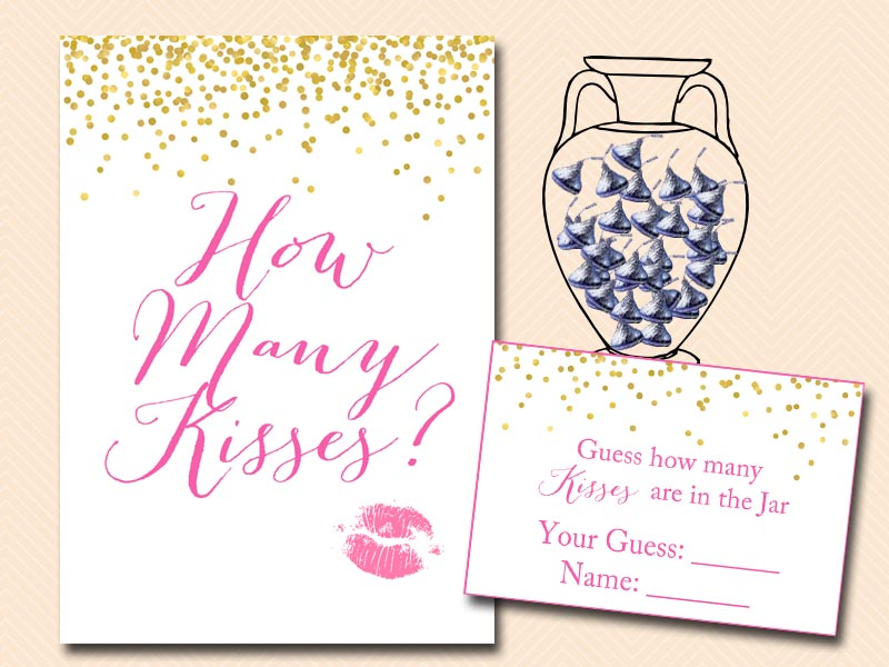 Hot Pink And Gold Confetti Bridal Shower Games