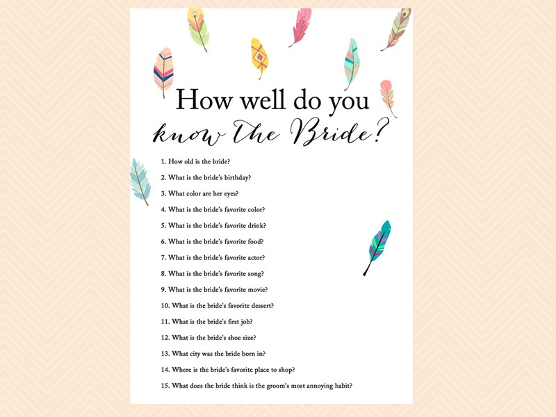 How Well Do You Know The Bride: Feathers & Tribal Bridal Shower Games