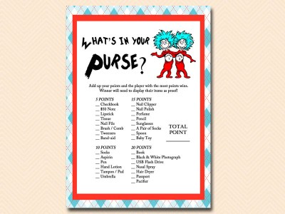 dr seuss themed what39s in your purse game by t