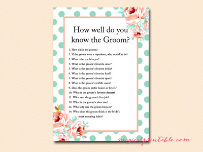 Mint And Peach Bridal Shower Games Magical Printable