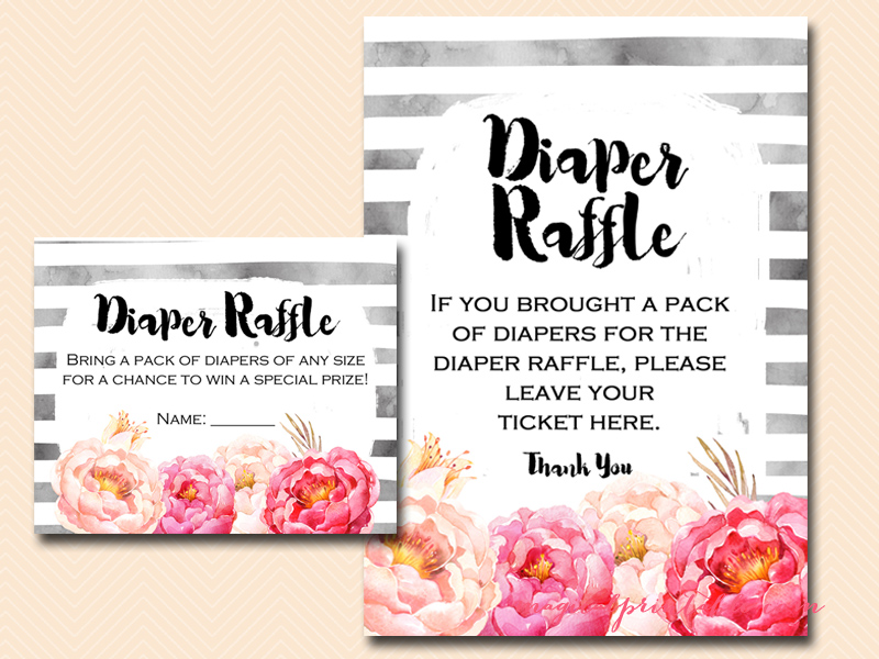 Watercolor Peonies Baby Shower Game Pack - Magical Printable