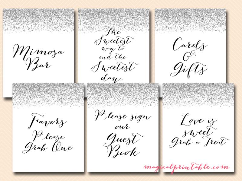 Printable Silver Confetti Decorative Signs Magical Printable