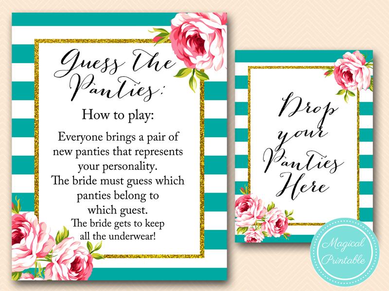 Floral Teal Bridal Shower Games Magical Printable