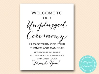 Unplugged Wedding Ceremony Signs Magical Printable