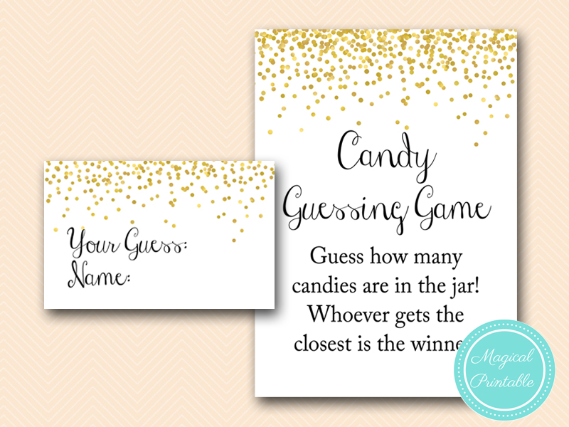 Gold Confetti Baby shower Game Pack - Magical Printable