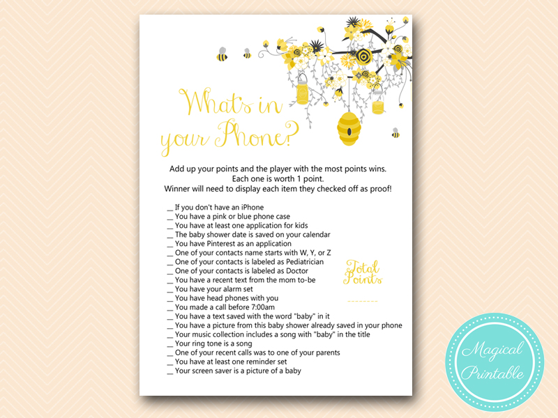 Bee Baby Shower Game Package Magical Printable