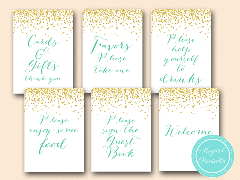 Gold Mint Bridal Shower Games and Signs - Magical Printable