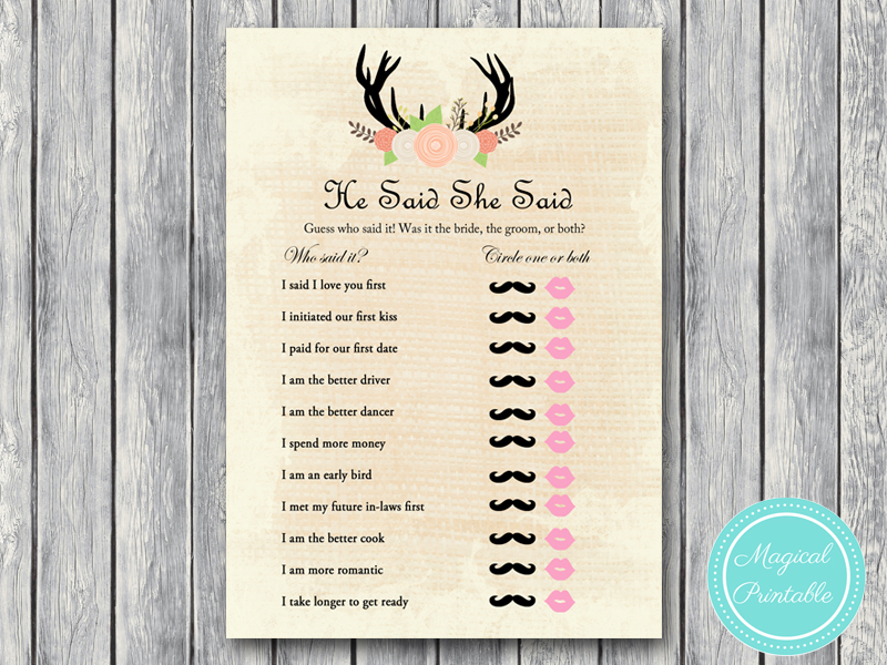 rustic country bridal shower game pack