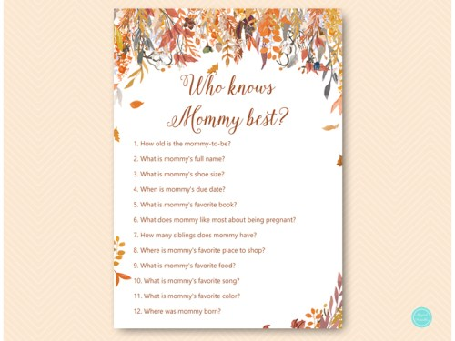 Autumn Fall Baby Shower Game Package - Magical Printable