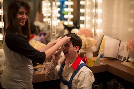 Getting Pinocchio ready for the show
