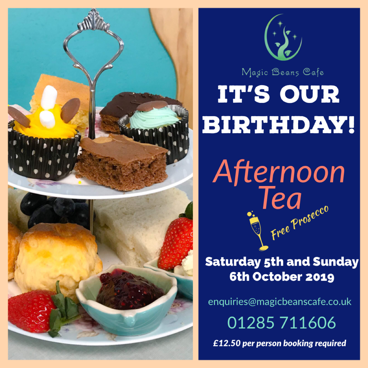 It's our birthday! Afternoon tea with free prosecco on Saturday 5th and Sunday 6th October for £12.50 per person