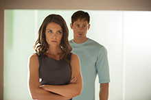 (L-R) KATIE HOLMES and ALEXANDER SKARSGÅRD star in THE GIVER