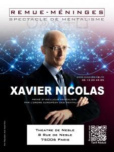 Affiche Remue Meninges 2012 internet 225x300 Calendrier des représentations de Xavier Nicolas   Magicien Mentaliste