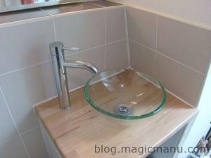 Carrelage coin WC et lavabo
