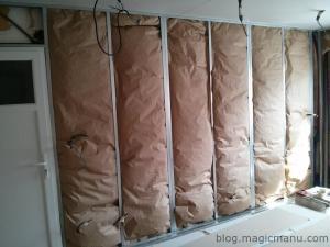Isolation et placo des murs de la cuisine